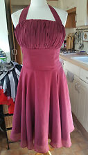 New Handmade 50's Style Burgundy Halter Neck A Line Dress Fitted Bra Lined Sz 12