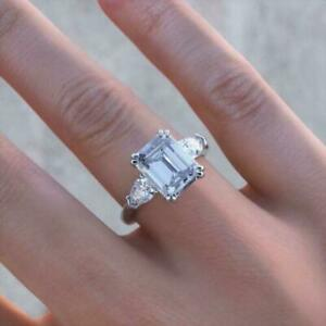 14k White Gold 3.00ct Emerald Brilliant Diamond Engagement Anniversary Ring