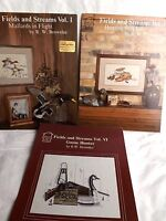 """""""Fields and Streams"""" Cross Stitch Patterns Lot of 3 Booklets I II VI Brownlee"""