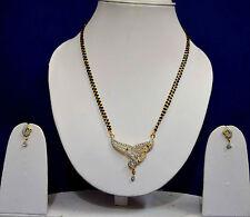 American Diamond Ruby Mangalsutra Jewellery Earrings Black Beads Chain SSC123