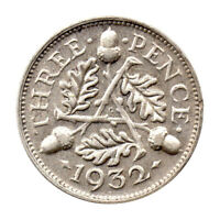 KM# 831 - Threepence - 3d - Silver (.500) - George V - Great Britain 1932 (VF)