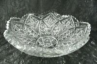 "Pressed Glass Bowl 8 Peaks Sawtooth Rim 8.75"" Stars Daisies Cross Hatch Vintage"