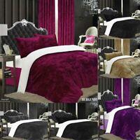 Luxury Crushed Velvet Duvet Quilt Cover Bedding Set Single Double King UK STOCKS