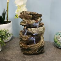 """Sunnydaze Tiered Rock and Log Tabletop Fountain Feature with LED Lights - 10.5"""""""