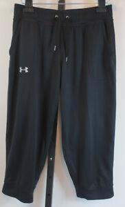 Under Armour Tech Capri Womens Size Medium Loose Heat Gear Black Active Pants
