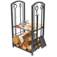 Wood Burner BBQ Fire Pit Log Storage Rack Companion Set Tools Fireside Kindling