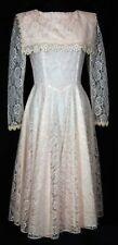 Vintage Gunne Sax dress pink allover lace long sleeve wedding victorian Sz 9