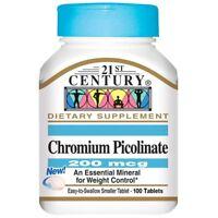 CHROMIUM PICOLINATE - 200 mcg 100 TABLETS + CALCIUM 100% PURE POWDER FAT BURNER