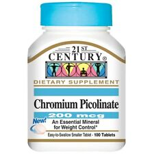 CHROMIUM PICOLINATE - 200 mcg 100 TABLETS + CALCIUM 100% PURE POWDER FAT BURNER