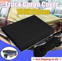150x120cm Waterproof Heavy Duty Black Trailer Cover Truck Cargo Car Rear