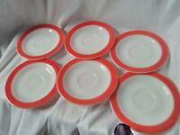 """6 Pyrex pink Flamingo saucers, 6 1/4"""", nice condition"""