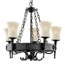 Searchlight 5 Lights Brown Cartwheel Traditional Iron Ceiling Fitting Chandelier