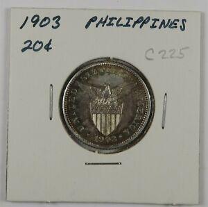 C225 Philippines, 1903 AR 20 Centavos, Philadelphia Mint D