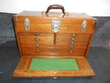 Antique UNION 7 Drawer Oak Wood MACHINIST TOOL CHEST Cabinet Box Jeweler Case