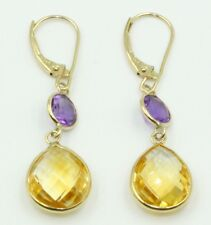 Pear Citrine &  Round Amenthyst Dangle Earrings,14K Yellow Gold Leverbacks