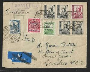 SPAIN 2 CENSORED COVERS TO UK & GERMANY 1937