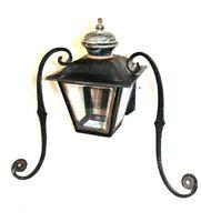 Antique Post Lantern Light Fixture Metal w. Glass Plates UL