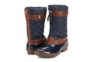 Duck Women's Lace Up Two Tone Combat Style Calf Rain Duck Boots