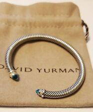 David Yurman 925 Silver 5mm Cable Blue Topaz and Diamond Cuff Bracelet