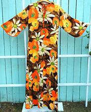 Laui Kai Vintage Hawaii Kimono Dress 1960s Floral Print Size 10 Retro Tiki Luau