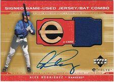 2001 Upper Deck ALEX RODRIGUEZ Evolution e-Card Game Bat Jersey Autograph