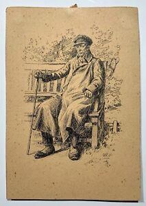 Frants Henningsen 19th-century drawing male portrait Danish artist Denmark