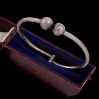 Antique Vintage Deco Retro Sterling Silver Mexico TAXCO Repousse Bangle Bracelet