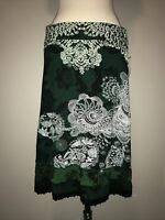 Desigual Black and Green A-line Skirt with Ruffle, Size XL