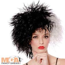 Dog Diva Cruella Wig Ladies Fancy Dress Womens Adults Halloween Costume Wig New