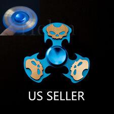 #3 Skull Aluminum Tri-Spinner Fidget Toy EDC Hand Finger Spinner Torqbar Blue