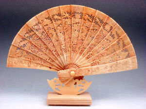 11 Inches Detailed Hand Carving Chinese Zodiac Sign Dragons Folding Fan & Base