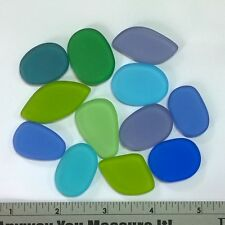 "12pc Tumbled Sea Glass Bead 1"" UNDRILLED Jewelry Necklace Pendant Mosaic Decor"