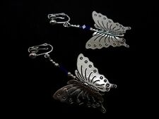 A PAIR OF BIG DANGLY BLUE CRYSTAL BEAD BUTTERFLY CLIP ON  EARRINGS. NEW.