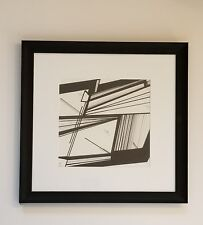 Origami 8x8 Black and White Abstract Line Drawing