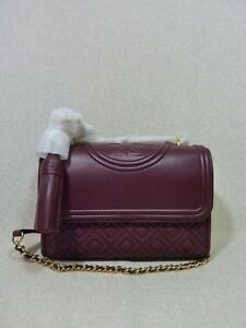 NEW Tory Burch Imperial Garnet Leather Small Fleming Convertible Bag $458
