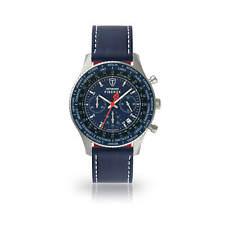 DETOMASO Firenze Herrenuhr Chronograph Edelstahl Blau Lederarmband Blau Neu