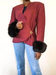 Anna Linder Ladies Blazer rare vintage style maroon formal uk size 12 wool