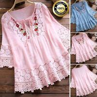 Womens Vintage Lace V-Neck Cotton Linen 3/4 Sleeves Blouse Top T-Shirt Plus Size
