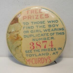 McCurdy's Toyland-Rochester, NY-Free Prizes-Santa Claus-Celluloid Pinback Button