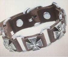 Stud Unisex Bracelet Wristband Biker Brown Genuine Leather Double Maltese Cross