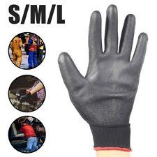 6 Pairs Black Nylon PU Safety Work Gloves Builders Grip Gardening