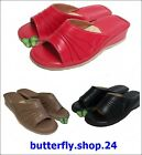 Womens Ladies Natural Leather Slippers Shoes Heel Mules Black Red Beige Size 3-7