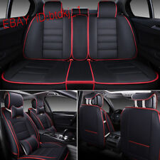 Deluxe PU leather Car Seat Cover Full Front+Rear Cushion 5-Seats W/Pillow Size M