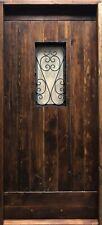 Rustic reclaimed solid lumber Doug Fir DOOR glass wrought iron U choose size