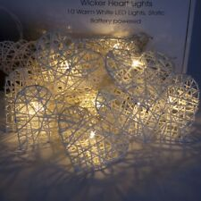 Qbis Wicker Heart Christmas Lights with TIMER, Battery Powered, Warm White LED