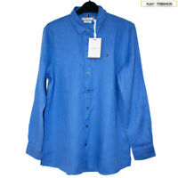 Tommy Hilfiger Women's Casual Pure Linen Shirt-Iris Blue Size UK8/US4