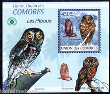 Anjouan scops owl, Owls, Birds of Prey, Comoros 2009 MNH Sheet