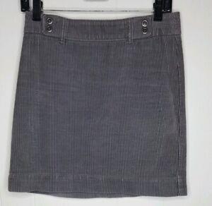 Ann Taylor Loft Womens Petite Skirt Gray Corduroy Short Mini Back Zipper Size 0P