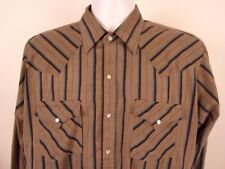 Ely Cattleman Western Button Up Shirt Size L Striped Long Sleeve Striped Gray