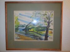 """Wall Decor Original Landscape Watercolor signed  framed and matted 23"""" x 30"""""""
